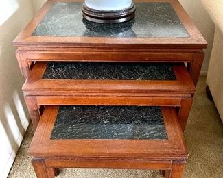 Ricardo Lynn 1970's Stacking Tables with Green Marble Inlay $400