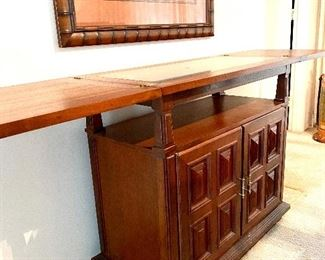 """Ricardo Lynn 1970's Server with Green Marble Inlay Top Measures 36""""w x 18""""dp x 33.5""""h   $350"""
