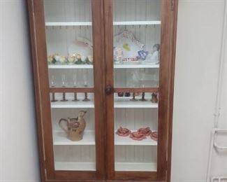 Beautiful cabinet holds cups, plates w/ drawer for silverware & linen