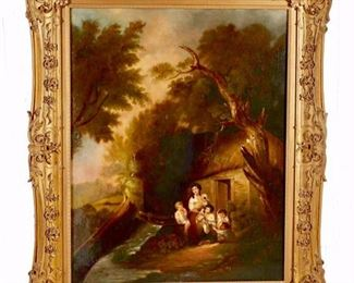 080a - Large and Beautiful 19th Century Oil on Canvas of Mother and Children  in Wooded Landscape in Front of Cottage in Fine Giltwood Frame, 4 ft. 6 in. H, 3 ft. 9 in. W.