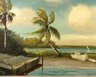 Rare Alfred Hair Florida Highwaymen Beach Scene with Boats