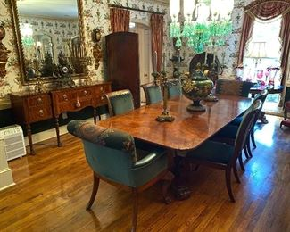 spectacular mahogany dining table with fluted base.