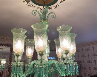 Emerald green glass chandelier from Red Barons.