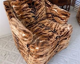 #4 $150 Pair of club Swivel chairs - leopard prints - worn