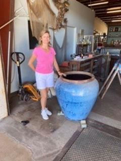 "1-one of Two  Large Urn Pottery Blue Pots, glazed. 3'h x 30""w. $1400"