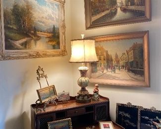 Corner showing desk, Coromandel panels, and original artworks