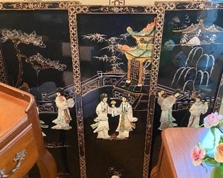 Black Lacquer and mother of pearl Chinese panels set of 3.  Also known as Coromandel