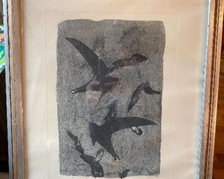 "Signed print by George Braque, ""Birds in flight"""