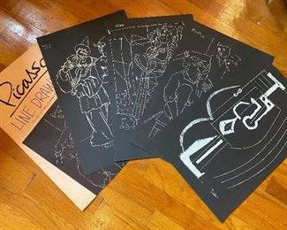 Picasso line drawings, full set of 4 in folio