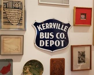 TWO SIDED KERRVILLE BUS SIGN (ENAMELED STEEL)