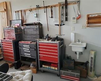 TOOL CHESTS with DRAWERS FULL OF HAND TOOLS