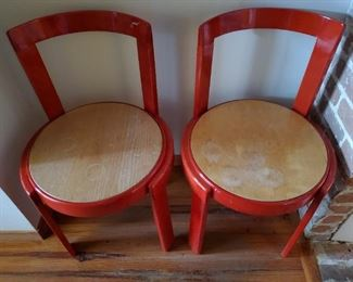 TWO MCM RED LACQUERED CHAIRS