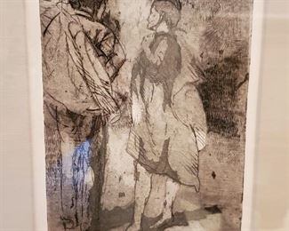 "Isabel Bishop ""TWO WITH COATS"" s/n print"
