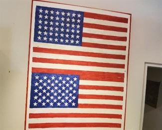 "Jasper John  ""AMERICAN FLAG"" unsigned offset colored lithograph on wove paper"