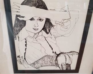 "Charles Pebworth ""SOMETIMES I WILL"" framed drawing"