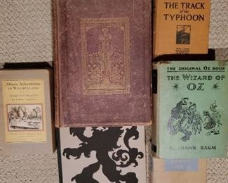 1868 GRAMMAR OF ORNAMENT,  1924 AMERICAN TRADE MARKS 1922 SIGNED THE TRACK OF THE TYPHOON, 1955 SIGNED SYD BYRD'S HOUSTON,  1903 LTD ED. WIZARD OF OZ, 1946 ALICE IN WONDERLAND