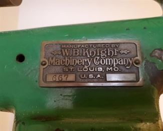 PLAQUE ON DRILL PRESS