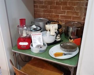 FOOD PROCESSOR, RICE COOKER, ANTIQUE SUNBEAM MIXER, STAINLESS BOILERS