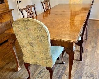 "$800 - Vintage dining table (AS IS - two small scratches).  41"" W x 101"" L fully extended (includes 3 leaves each 12"" W)."