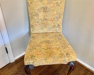 "$250 - 2 custom upholstered chairs.  20.5"" W, 21"" D, 40"" H."