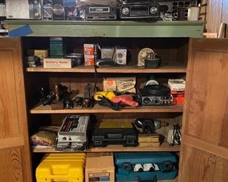 Vintage Radios, TV, 8 Track Tape Deck, Tools