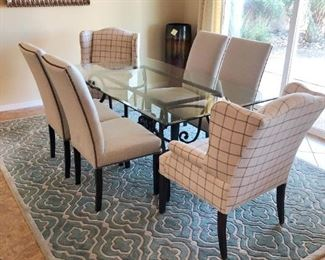Gorgeous designer glass-top dining set with 6 chairs and beautiful luxury area rug