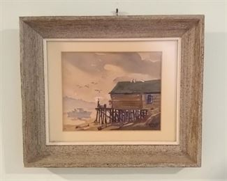 """Original Watercolor Framed Painting by Maurice """"Jake"""" Day - See next picture for a photo of the card attached to the back of the painting. It contains a complete description as written by Mary Jane Dockeray."""