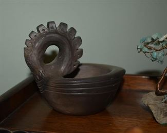 1) Hand carved Dragon Trinket Dish; unknown substrate 2) Hand made tree with Jade leaves and a Copper trunk on a stone.