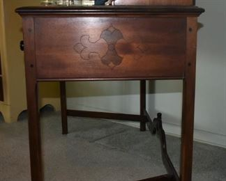 Side View showing some of the detailed craftsmanship.  Berkey & Gay Ladies Writing Desk; Purchased by Grace S. Dockeray in 1924; her father-in-law (Snellink) worked at Berkey & Gay.It is an original Salesman's sample and may be a one-of-a-kind. The Salesman decided it wouldn't be a seller - and they never made another one.  ca. 1920's