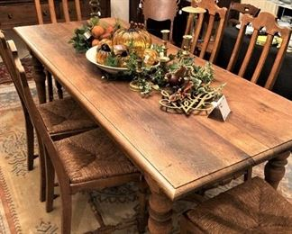 Estate Sale Oct. 22, 23, 24!!! Handsome antique table & 6 chairs with rush seats