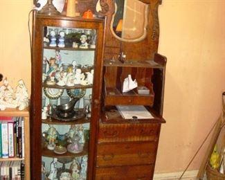Oak Secretary with Curio Cabinet