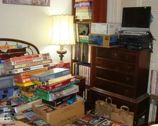 Record Albums, board games, Brass Bed, Dressers, VHS tapes