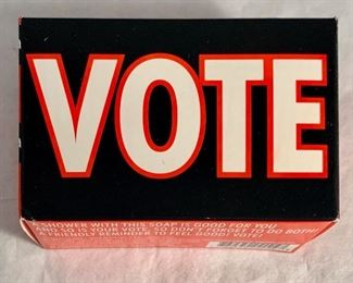 "$10; ""VOTE"" box of soap - approx 4"" by 3"""