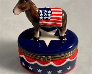 "$20 Donkey porcelain, hinged box - 4""H"