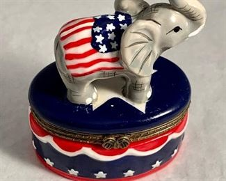 "$20 Elephant porcelain, hinged box - 4""H"