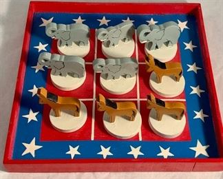 "$25 Vintage, political Tic Tac Toe  wood set - 8"" x 8"""