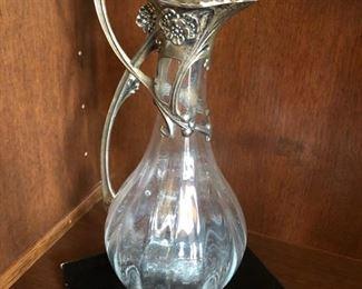 Art Nouveau German Silver Mounter Pitcher