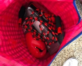 Boxing gloves and workout weights