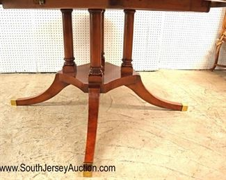 "ot: 501 - BEAUTIFUL GieMme Romano of Ezzelino Vicenza Italy  BEAUTIFUL GieMme Romano of Ezzelino Vicenza Italy Italian made burl walnut and banded 61"" round dining room table with (2) 17 1/2"" leaves"