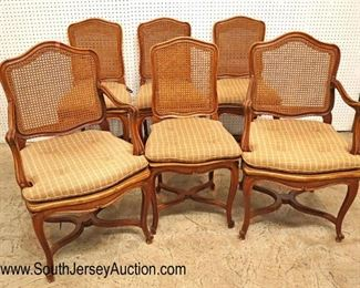 Lot: 502 - Set of 6 ANTIQUE French dining room cane chairs  Set of 6 ANTIQUE French dining room cane chairs with custom wooden seat planks to protect the cane with cushions