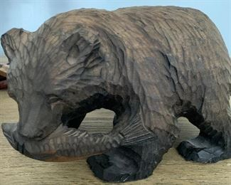 Alaska hand carved bear. 8 inches long