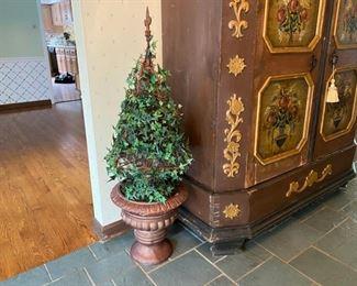 """vine topiary in resin planter                                         28.00            48""""h"""