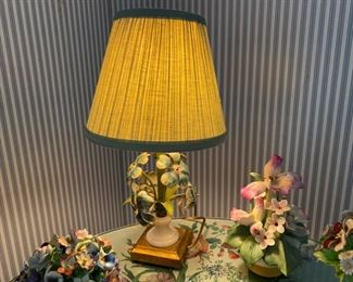 """Small tole floral table lamp                                                  45.00          Height including shade   14"""""""