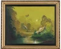 Oil Painting of Tropical Landscape, Mid to Late 20th Century