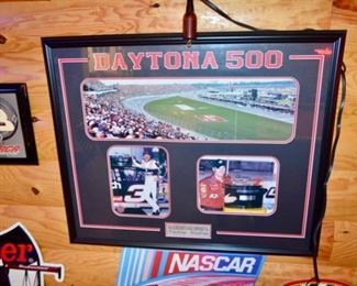 framed collage of Champions: 1998 Daytona 500 Dale Earnhardt & 2004 Dale Earnhart, Jr.