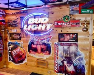 Bud Light neon sign, many bar signs!