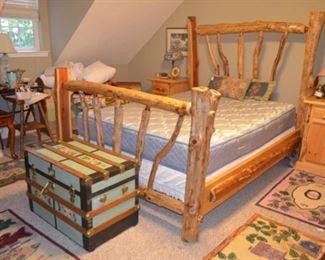 log bedroom suite - queen size bed, two nightstands & dresser