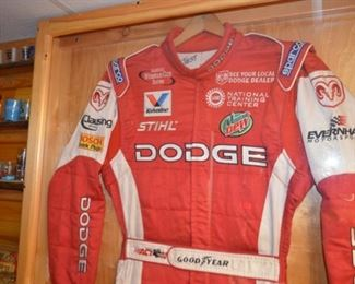 Kasey Kahne's test driving suit (Winston Cup) in display cabinet