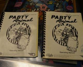 Party Animal Pinball Machine (Bally 1987) two manuals