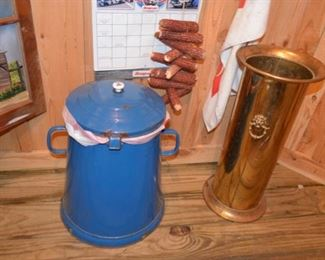 graniteware trashcan, brass umbrella stand